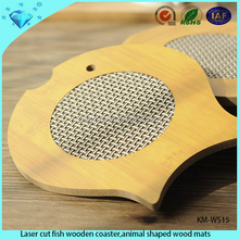Laser cut fish wooden coaster,animal shaped wood mats