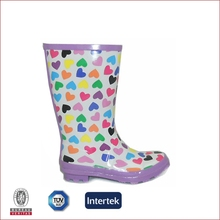 2015 new developed colorful heart print rain boots manufacturer