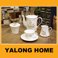 modern fine bone china decal gold rimmed tea set coffee set