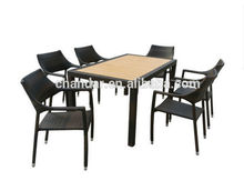 rattan dining table with polywood on top dining table,dining table and rattan chair ,dinning table set