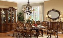wood carved dining room table sets