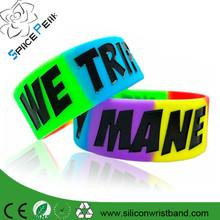 Promotional OEM Sport Silicone Wristband, Custom Colorful Silicon Wristband Swirl One Inch Silicone Bracelet