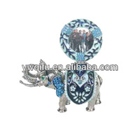 Popular new hot sale elephant with crystal rhinestone shaped metal jewelry box for home decoration(QF578)