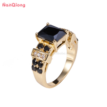 18 karat gold plated sterling silver jewelry black stone ring for men