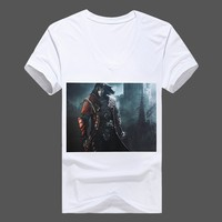 Good Brand Men Fashion Polyester T-Shirts Plus Size M-5XL V-Neck Short Sleeve Classic Printed Man Casual White Tops & Tees