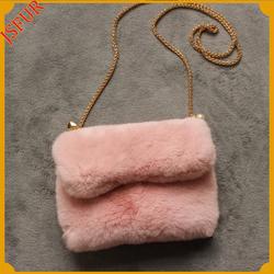 Genuine 100% rabbit fur bag hand bag top quality very soft fashion fur bag