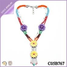 collares europeos de moda con flores para mujere collares largos bisuteria