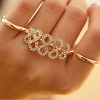 new Popular fashion diamond double finger ring jewelry adjust open ring
