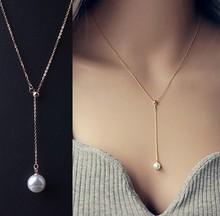d60428h 2015 women necklace Korean short collarbone chain fashion titanium steel allergy pearl accessories