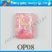 High quality favourable price of rectangle cut cabochon synthetic opal stone in pink color