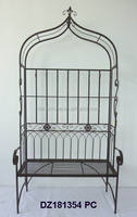 Cast Wrought Iron Park Bench with Roof Canopy & Coat Hanger