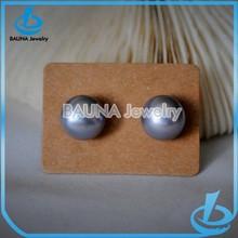 Fashion big grey pearl stud earrings