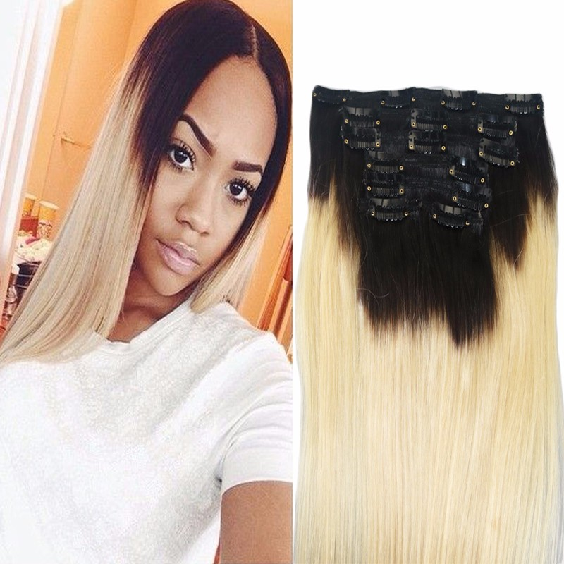 Double Drawn Two Tone Balayage Remy Clip In Hair Extension Human