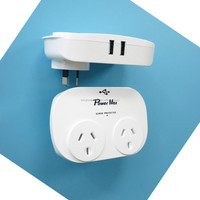 SAA 2015 white color saa surge protected adapter 2USB, 2.4a, 2 outlets