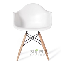 DAW eames plastic dining height ARM CHAIR wooden base
