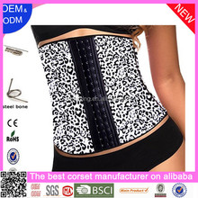 Wholesale body slimming 3 Hook Steel Boned Print Latex Waist Trainer Corset
