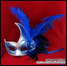 Wholesale lady royal blue/silver Halloween party feather Italian mask