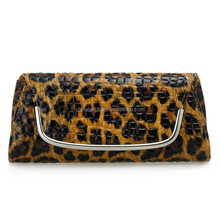 ladies U shape animal print PU evening clutch bag in stock Item: 4026