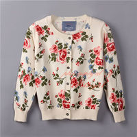 2016 New Casual Girl Flower Sweater With Breasted Sweet Cardigan Daily Kids Wear SW81111-9
