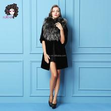 Furnix new women's mink and fox fur coat