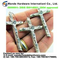 "high quality custom antique christian rosary part crucifix silver gild cross 2"" behold heart pardon"