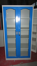 Blue steel tall glass filing cabinet/double door 4 shelves office file storage cabinet