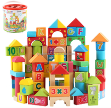 100PCS Solid Wooden Building Blocks For Kids