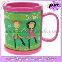 2014 Hot sell cartoon personalized kids cups/small plastic cups with lids/16oz plastic cup with handle