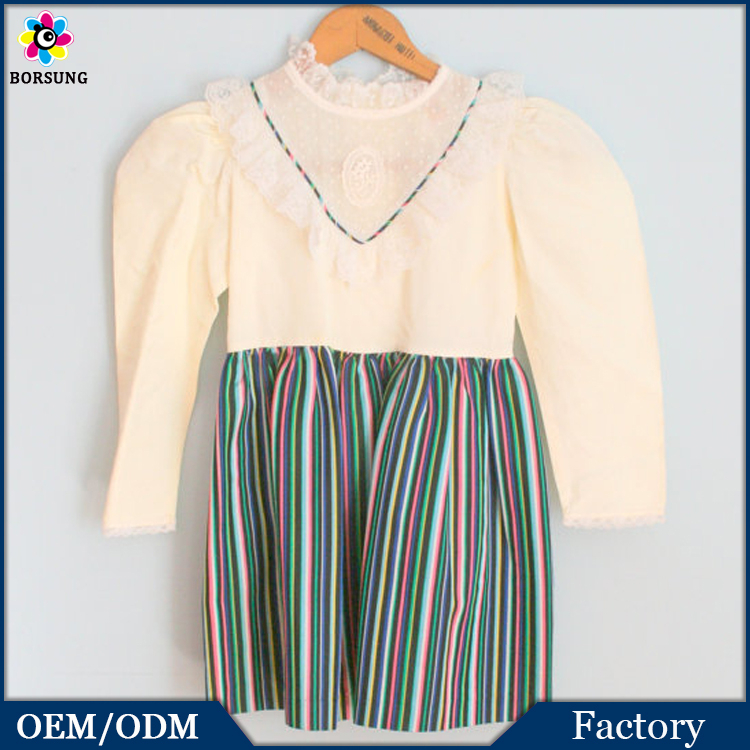 OEM Service Autumn Girls Casual Rice White Kids Frocks Design With Lace Autumn Dresses