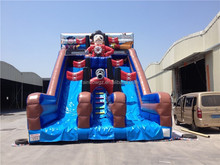 giant pirate themed inflatable double lane slip slide ,inflatable playground for sale
