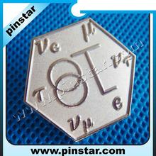 Custom made number laser silver metal polygon badge hexagon badge maker