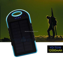 2015 Solar Panel 12000mah solar charger YD-T016 super slim power bank