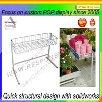 2013 best seller metal white custom decorative basket floor flower display stand furniture display stand with good quality