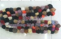 BG5365-2 Genuine Rex Rabbit Fur Scarf pom poms
