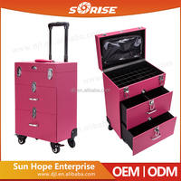 Professional makeup artist/hairstylist/fashion antique cosmetic suitcase rose makeup travel case with multipalyer drawers