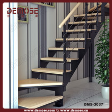 prefabricated stairs steel structure with wood treads