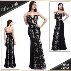 Elegant Long of Bridal Dress Evening Dress Black Sheath Lace Gown