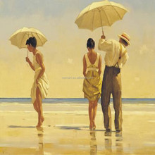 Dancing on the beach with unbrella Jack's famous reproduction canvas oil paintings