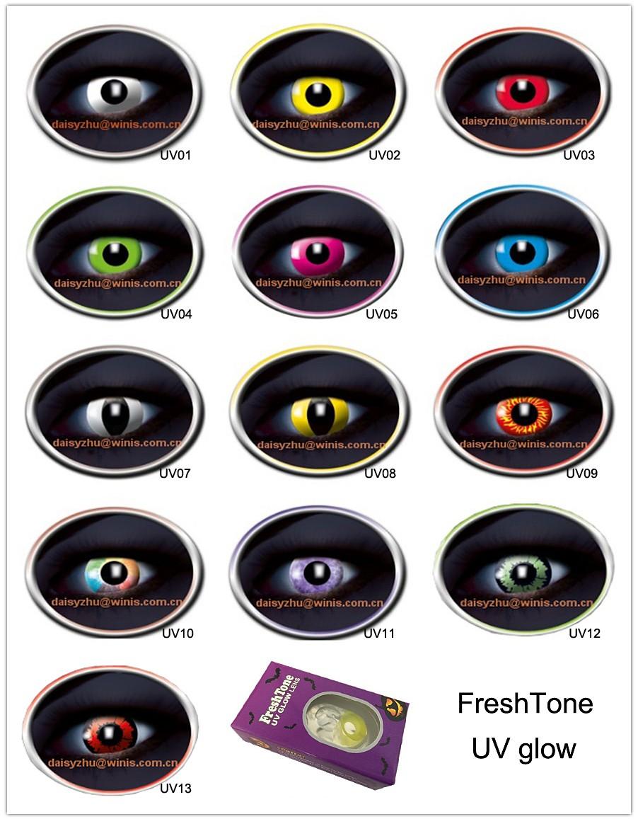 freshtone uv glow in the dark contact eye lenses halloween