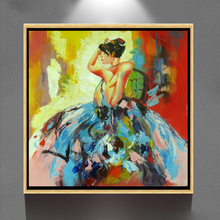 Excellent handmade nude dancing woman modern fabric framed oil painting