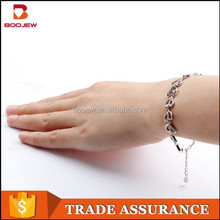 china hot sale ladies fashion silver heart chain bracelace jewelry making supplies