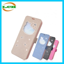 New arrival hello kitty flip down leather belt clip cover case for iphone 6 with stand