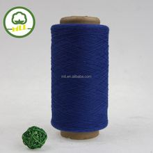 Blue color recycled cotton/polyester blended yarn made in China, open end yarn supplier, dyed 50% cotton yarn