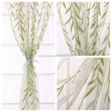 2015 New Fashion Green Willow Leaves Flocking Organza Window Cotton Curtain