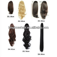 "20""INCHV REVERSIBLE Curly Flick Straight Wavy Clip On Ponytail Extension Hair Piece PURE PERU HUMAN HAIR"