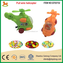 small pull line helicopter filled with candy /helicopter candy toy /promotional candy toy