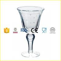 Handmade clear bubble wine glass goblet ball stem stemware