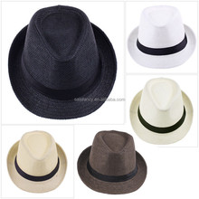 Different colors and styles decorate round fedora hat children felt hats QHAT-0007