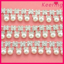 Latest design pearl and brass rhinestone cup chain for garment WRC-203