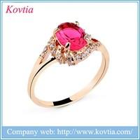 2016 Beautiful 24K gold cubic zirconia rings ruby finger ring red gemstone ring
